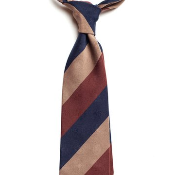 Block stripe silk tie