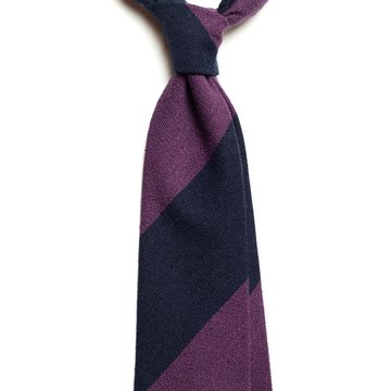 Block stripe wool tie