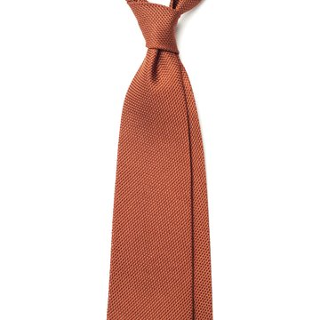 Garza Fina Grenadine Silk Tie - Rust Brown