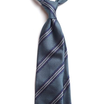 Handrolled Bar Stripe Silk Tie