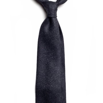 Handrolled Cashmere Tie - Charcoal Grey