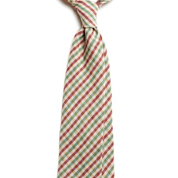 Handrolled Gingham Wool Tie