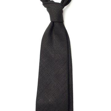 Handrolled Linen Tie - Black