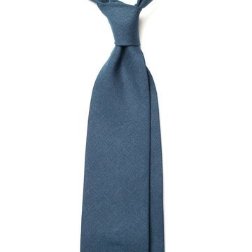 Handrolled Linen Tie - Blue