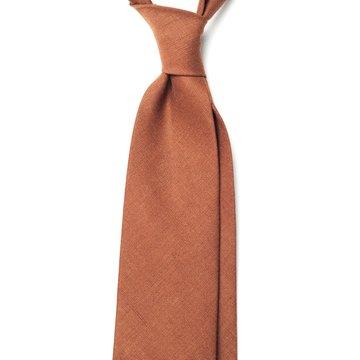 Handrolled Linen Tie - Brown