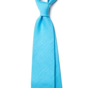 Handrolled Linen Tie - Light Blue