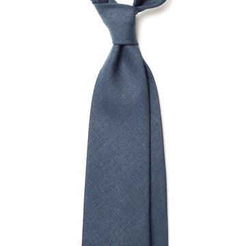 Handrolled Linen Tie - Navy