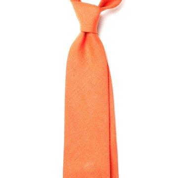 Handrolled Linen Tie - Orange