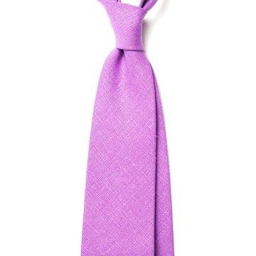 Handrolled Linen Tie - Purple