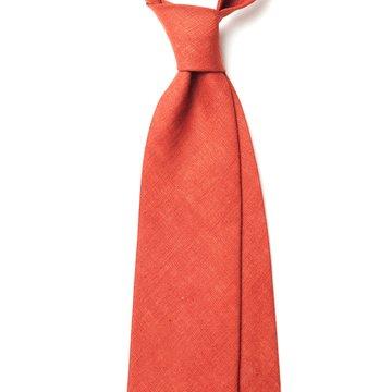 Handrolled Linen Tie - Red