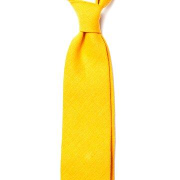 Handrolled Linen Tie - Yellow