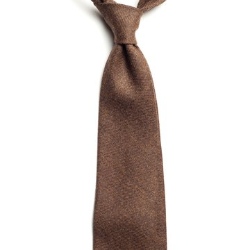 Handrolled Wool Tie - Brown