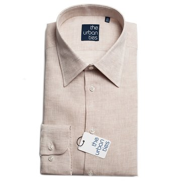 LINEN SEMI-SPREAD SHIRT - BROWN