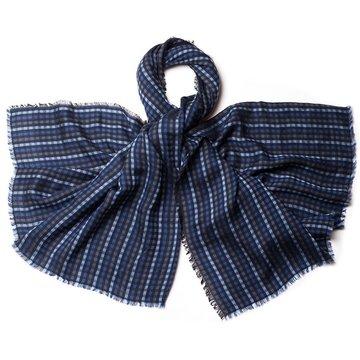 Pin check wool scarf