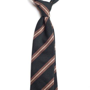 Repp Stripe Mogador Tie - Green