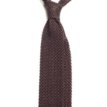 Solid knit silk tie - brown