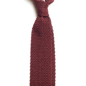 Solid knit silk tie - burgundy