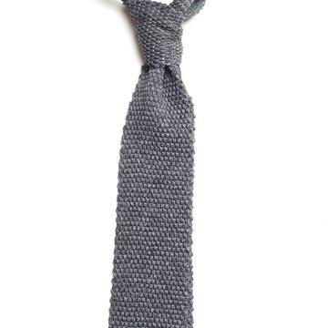Solid knit silk tie - grey