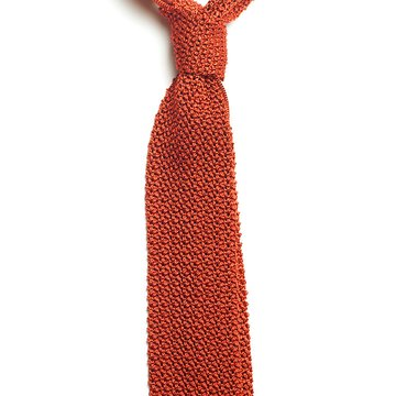 Solid knit silk tie - orange