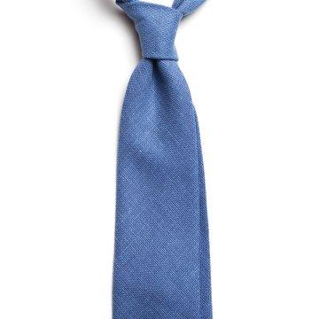 Solid linen tie - Blue