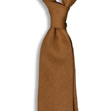 Solid Linen Tie - Brown