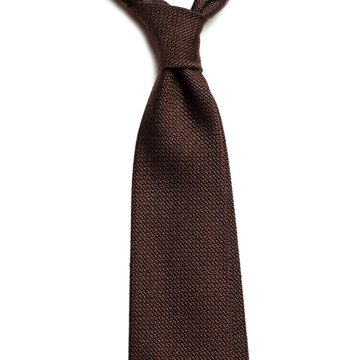 Solid silk tie - brown