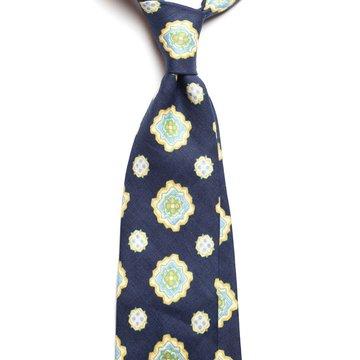 Vintage medallion linen tie - navy
