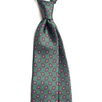 Vintage Medallion Silk Tie - Green