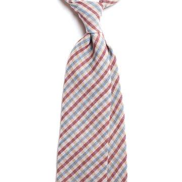 Cravata lana model carouri bleu-visiniu