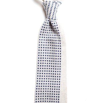 Cravata lana tricotata alba buline bleu