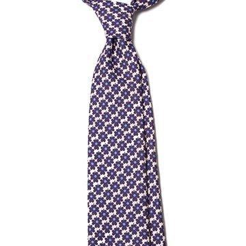 Cravata matase model floral alb-bleumarin