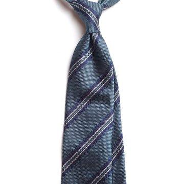 Cravata matase bleu model dungi