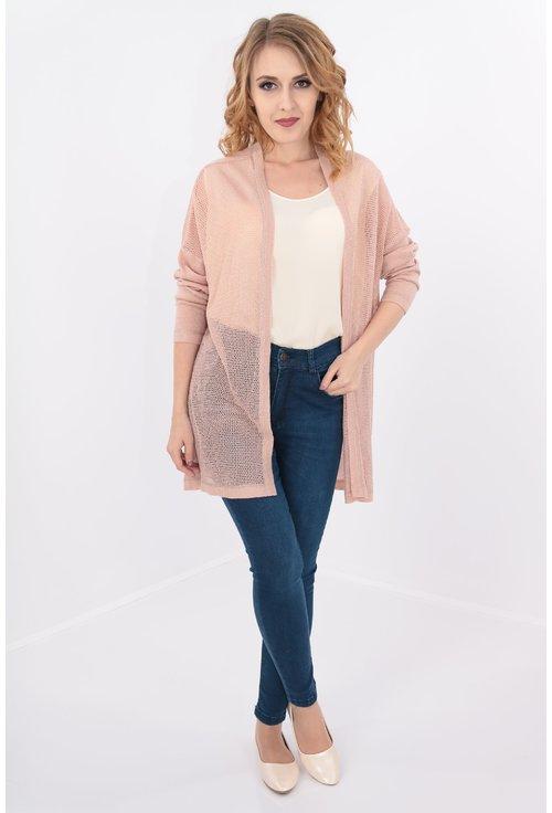 Blazer roz pudra tricotat