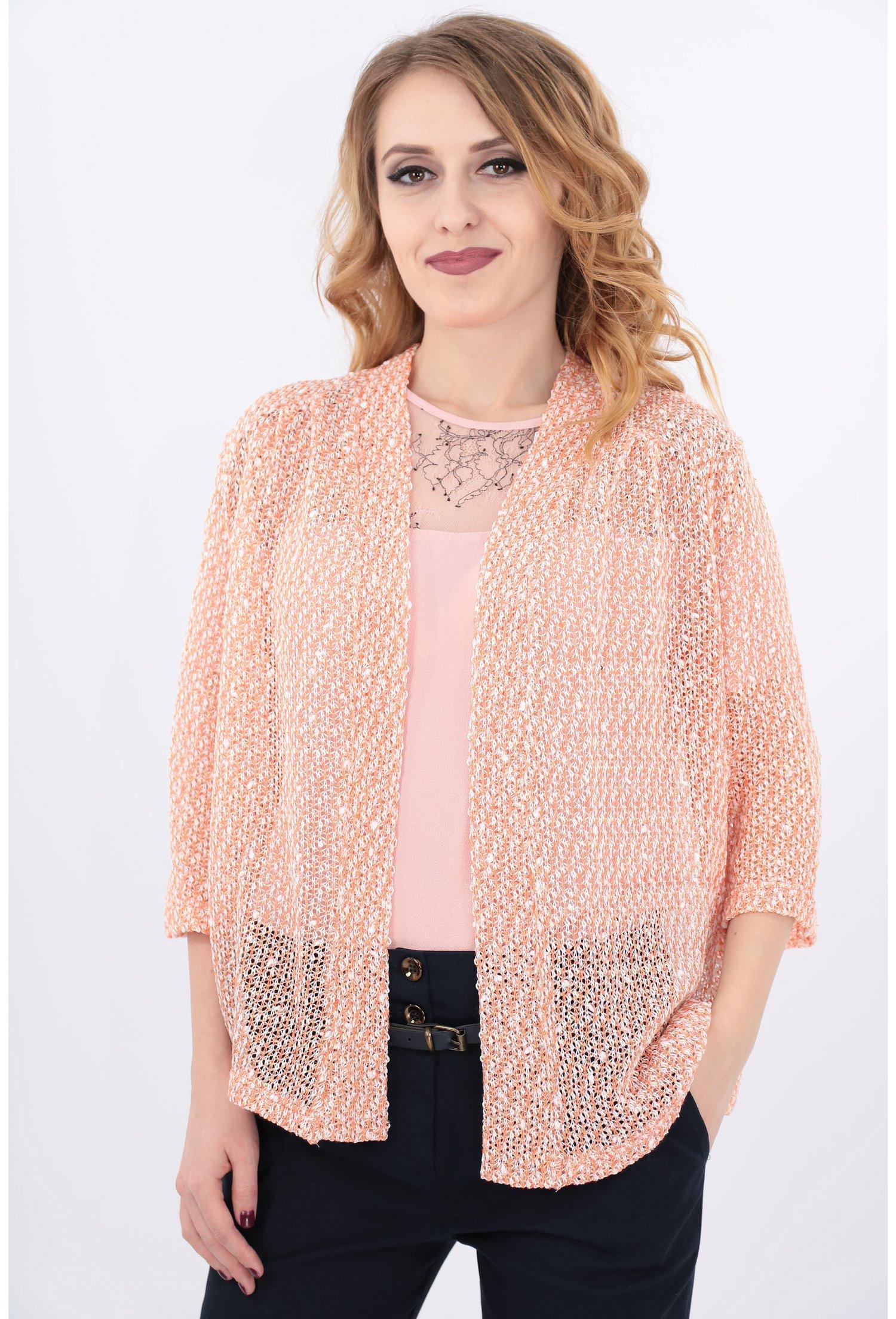 Imagine Blazer Tricotat Corai Cu Paiete Aurii