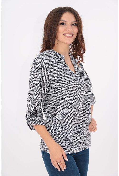 Bluza alba cu desen negru si guler tunica