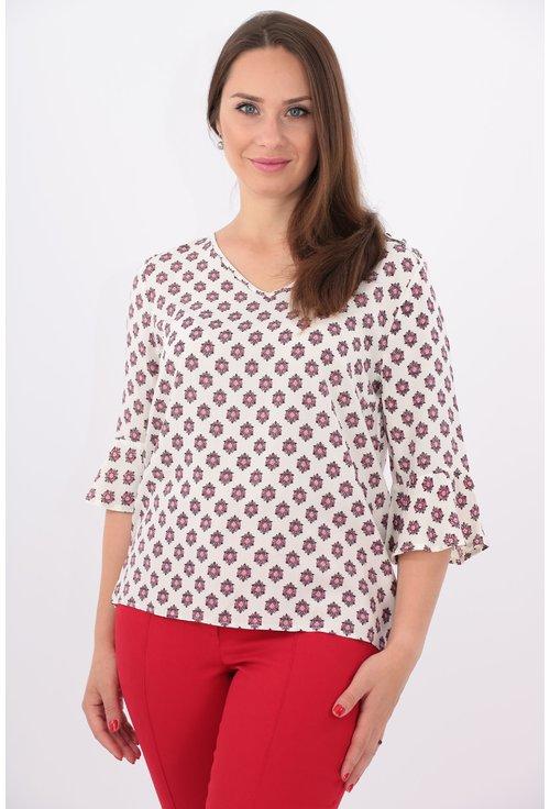 Bluza alba cu imprimeu floral rosu