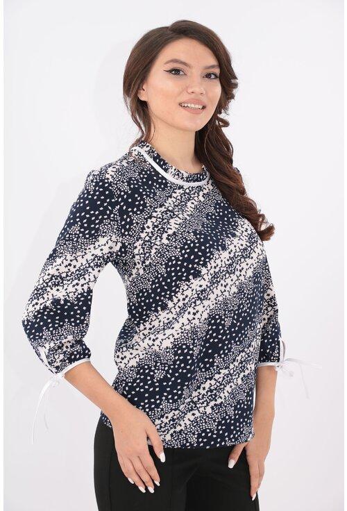 Bluza alba cu print diagonal bleumarin