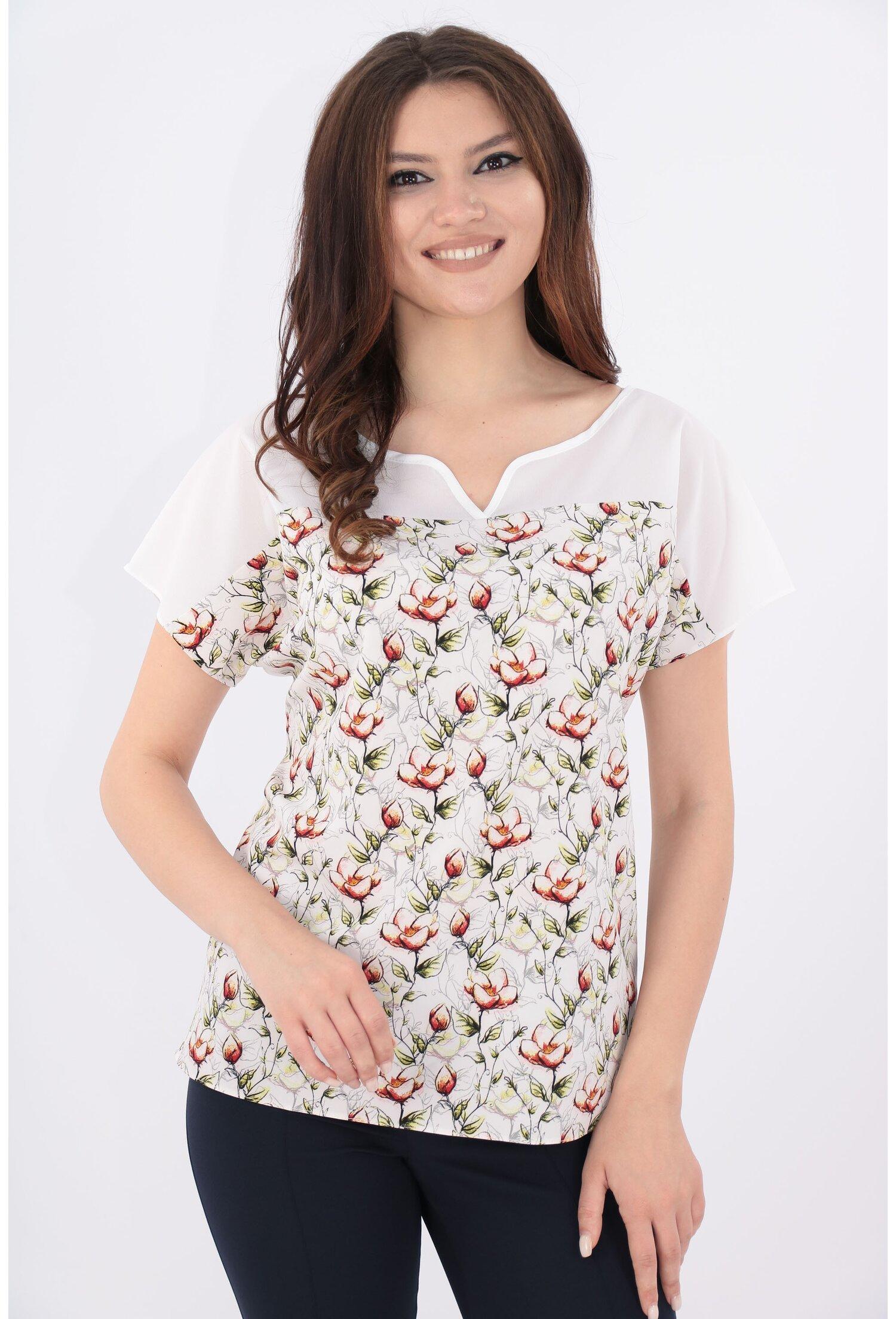 Imagine Bluza Alba Cu Print Floral Caramiziu