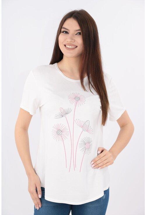 Bluza alba cu print floral roz