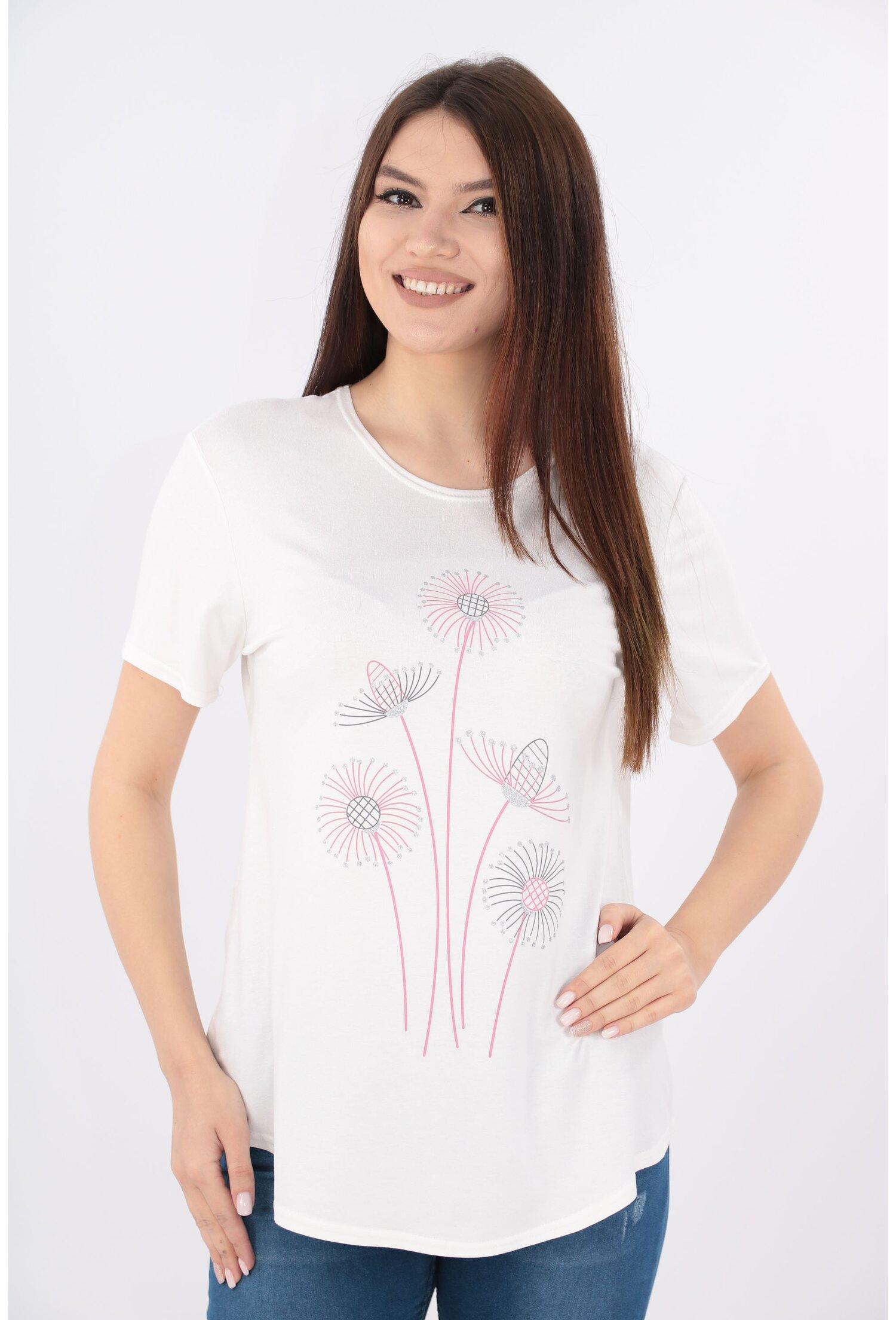 Imagine Bluza Alba Cu Print Floral Roz
