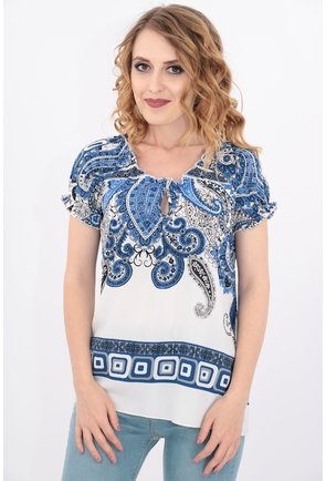 Bluza alba cu print floral
