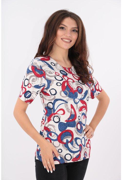 Bluza alba cu print geometric rosu-albastru