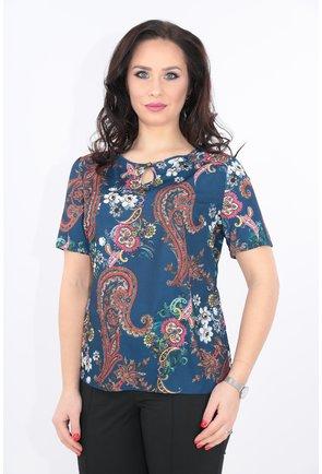 Bluza albastra cu imprimeu floral