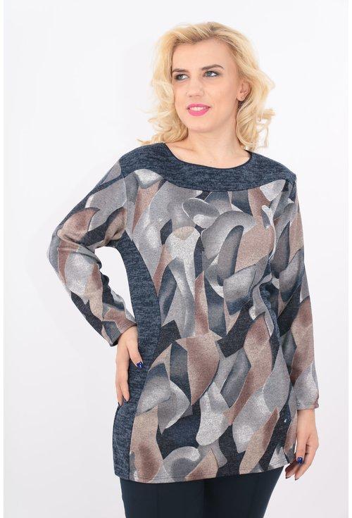 Bluza bej cu print geometric