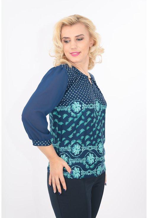 Bluza bleumarin cu buline aqua