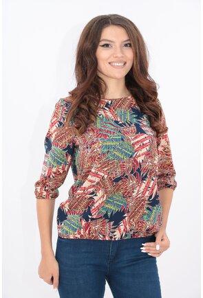 Bluza bleumarin cu desen multicolor