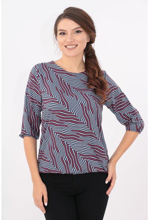 Bluza bleumarin cu diagonale gri si rosii