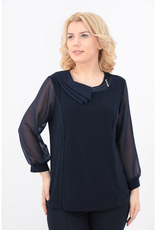 Bluza bleumarin cu guler asimetric