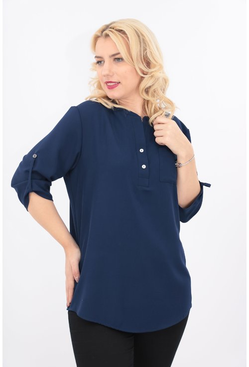 Bluza bleumarin cu guler tunica