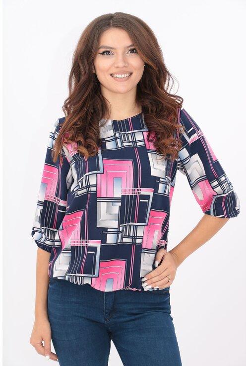 Bluza bleumarin cu patrate roz si gri